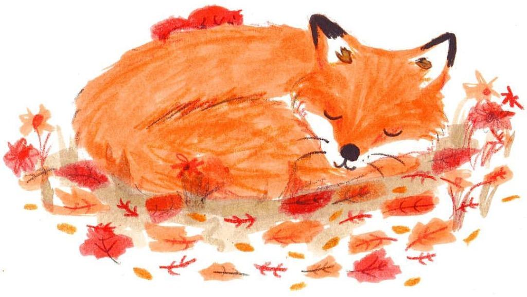 Sleeping autumn fox - Lucy Dillamore