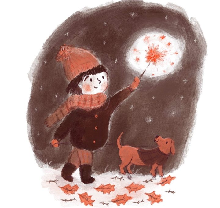Girl with Sparkler Lucy Dillamore Illustration