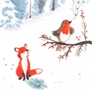 Fox and Robin in snow singing Lucy Dillamore 2021