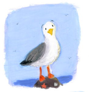 Lucy Dillamore 2021 Seagull and Girl Illustration Beach